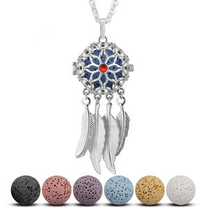 Dreamcatcher with Feather Tassels Aromatherapy Locket Pendant Necklace