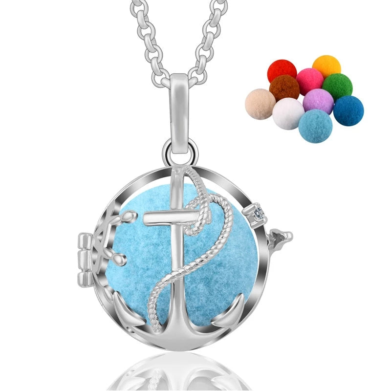 Anchor Aromatherapy Diffuser Locket Pendant Necklace