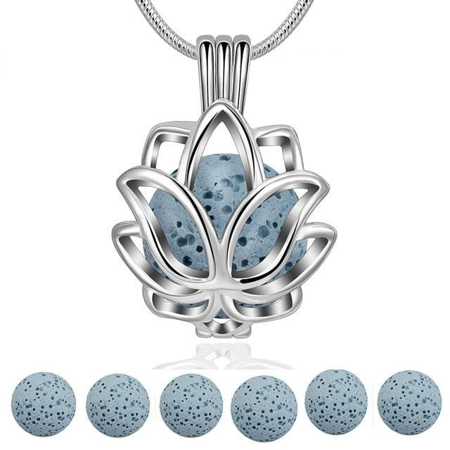Lotus Blossom Ball Shaped Essential Oil Diffuser Locket Necklace