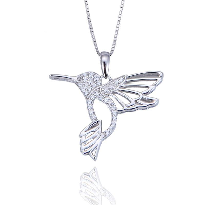 925 Sterling Silver Hummingbird Necklace Fine Jewelry