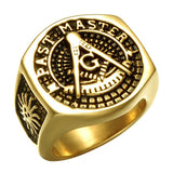 Past Master Masonic Signet Gold Color Titanium Stainless Steel Ring for Men