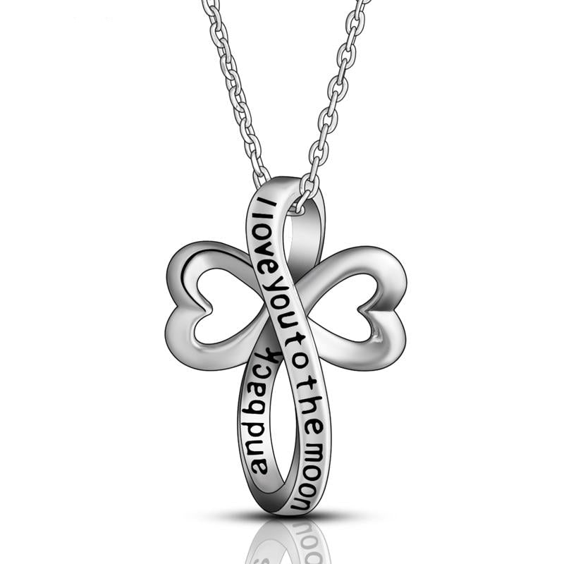 925 Sterling Silver Eternal Love Heart Cross Pendant Necklace