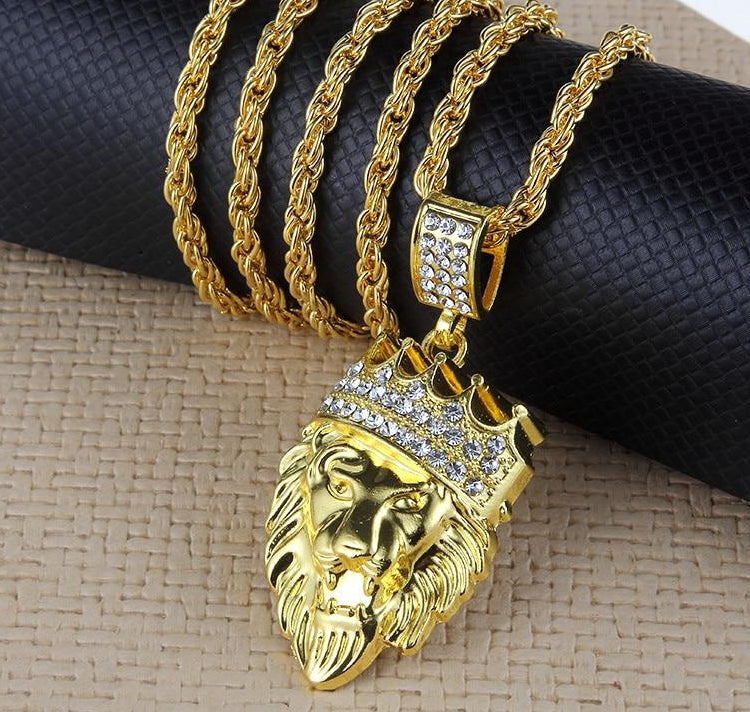 Hip Hop Lion with Crown Pendant Necklace for Women's Jewelry
