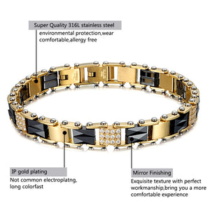 Luxury Gold Plated Magnetic Bracelet with Black Ceramics and Clear Zirconia