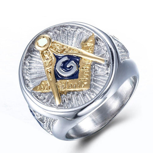 Gold Plated Stainless Steel Polished Masonic Ring for Men - Innovato Store