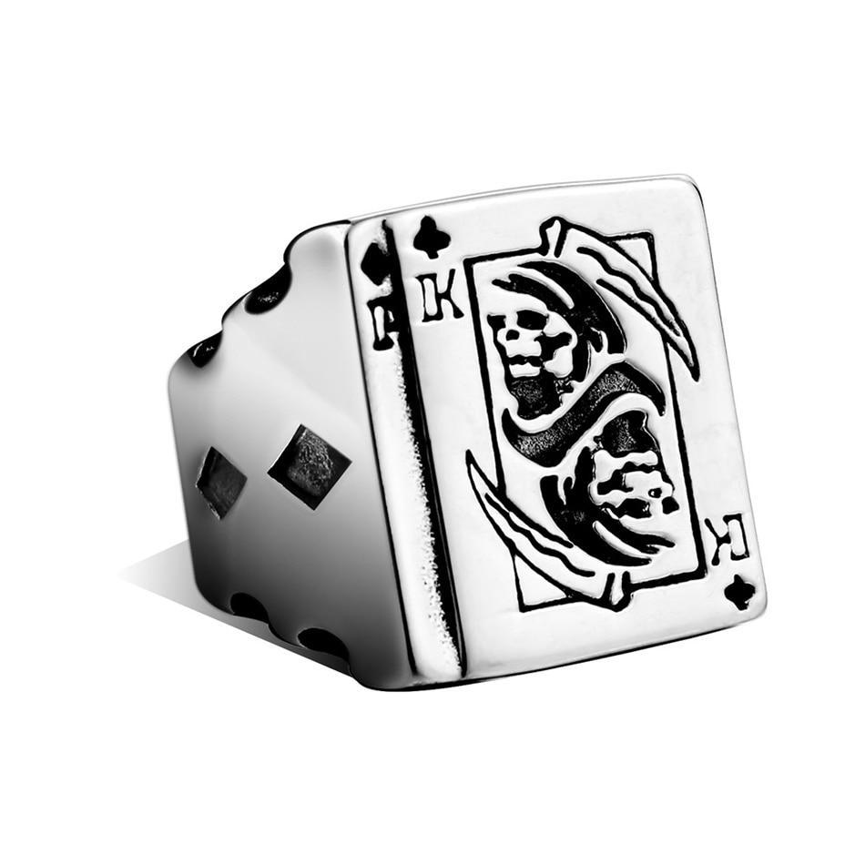 Silver Plated Poker Ring with Playing Cards and Grim Reaper Central Design