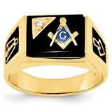 Gold Plated Square Ring for Men with Black Inlay on Face and Sides, Blue Masonic Symbol and One Clear Zircon - Innovato Store