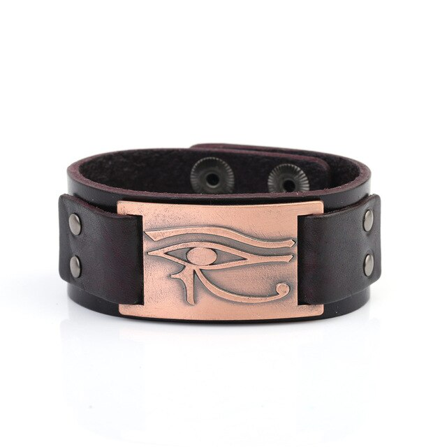 Religious Egyptian Eye of Horus Leather Adjustable Bangle Bracelet Jewelry