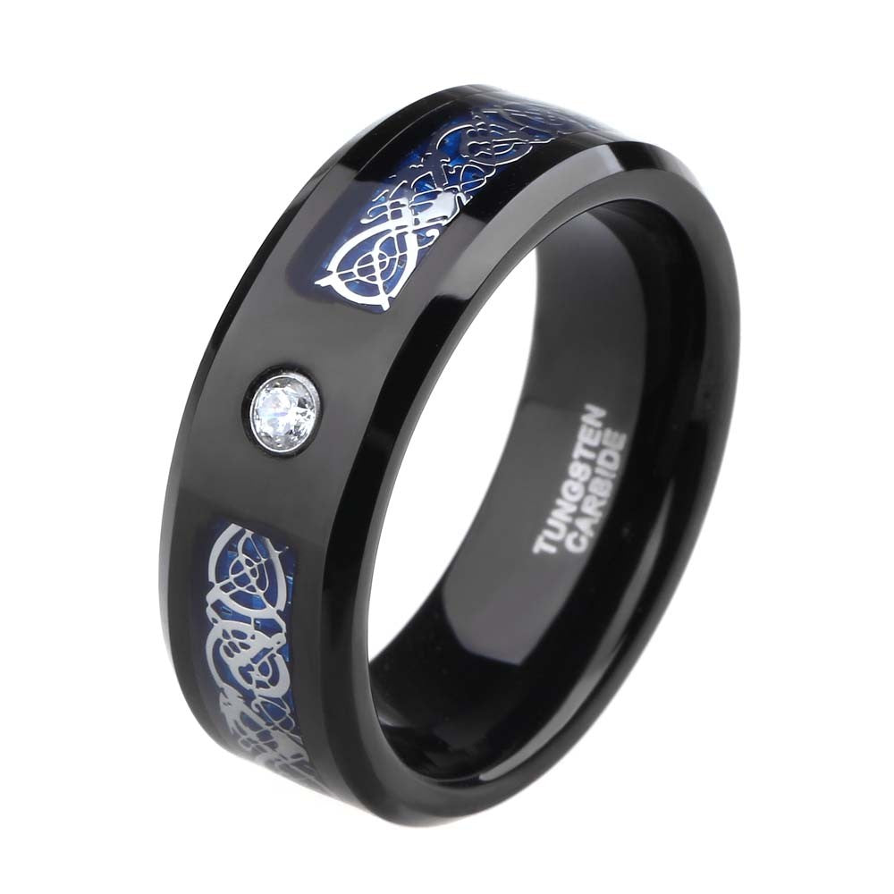 8mm Blue Carbon Celtic Dragon Tungsten Carbide Wedding Engagement Ring - Innovato Store