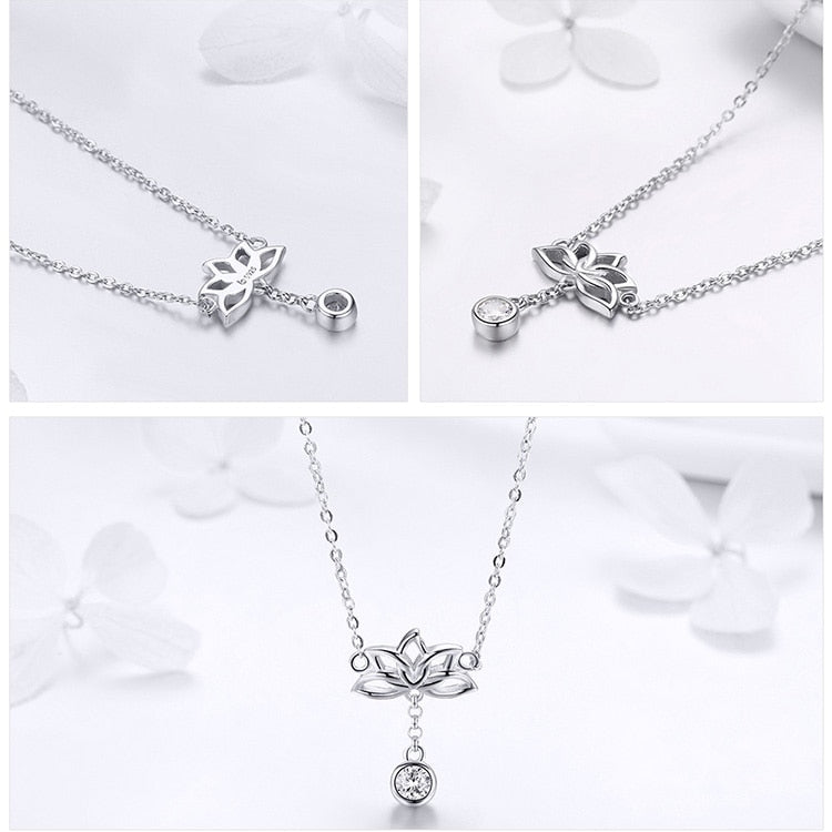 925 Sterling Silver Lotus Flower with Clear Cubic Zircon Pendant Necklace
