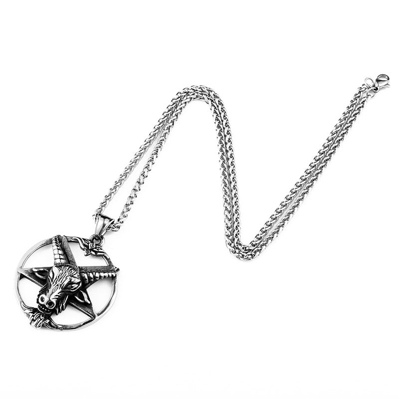 Stainless Steel Pentagram Skull Goat Head Pendant Necklace for Men