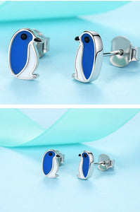 Cute Penguin 925 Sterling Silver Blue Enamel Earrings for Girls - Innovato Store