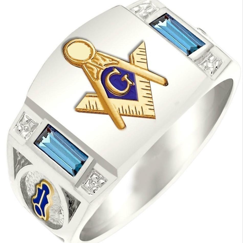 Silver Plated Masonic Ring for Men with Gold Mason Builder Symbol and Two Blue Square Rhinestones
