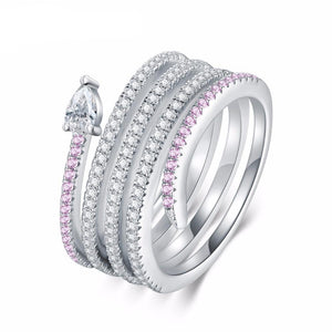 Silver Plated Ring for Woman with Snake and Pink Luxury Zircons and One Big Clear Zircon