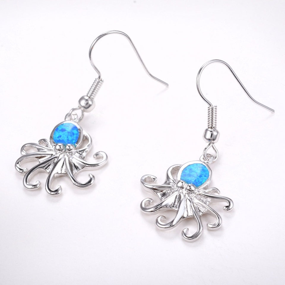 925 Sterling Silver Blue Fire Opal Dangle Earrings For Women
