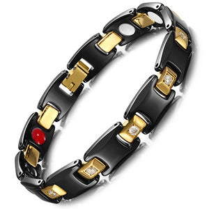 Ceramic & Gold Plated Magnetic Bracelet with Zirconia