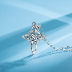 925 Sterling Silver Four-Cornered Triquetra Celtics Knot Cross Necklace