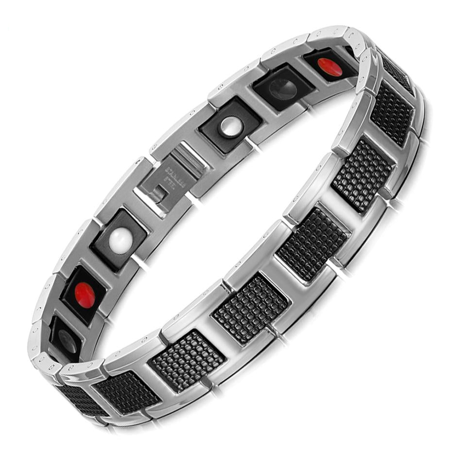 Silver & Black Carbon Fiber Magnetic Bracelet Jewelry