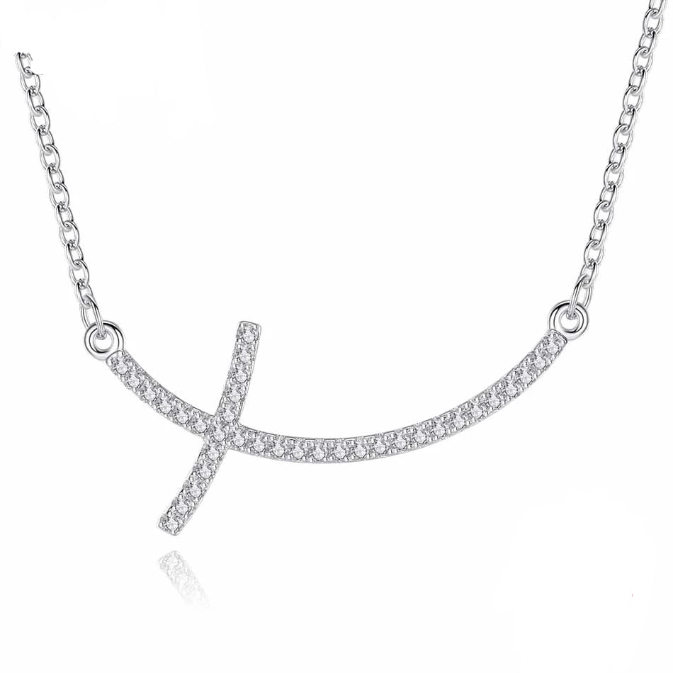 925 Sterling Silver Sideways Cross with Cubic Zirconia Pendant Necklace