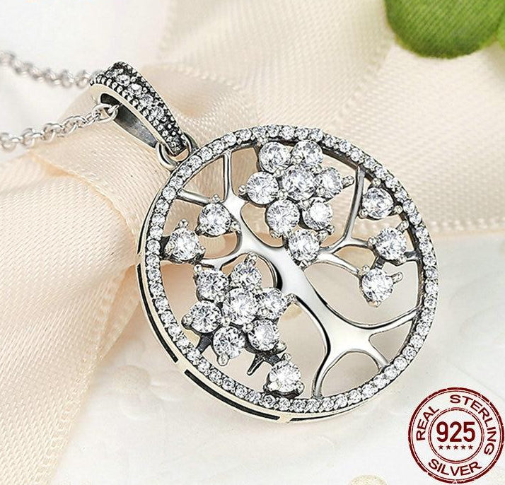 925 Sterling Silver Tree of Life Round Pendant Necklace