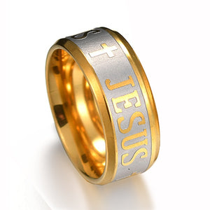 8mm Dual Toned Stainless Steel Men's Christian Jesus Cross Wedding Band