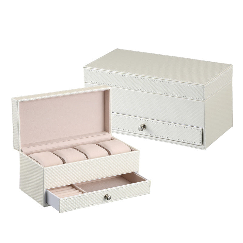 Luxury Leather Jewelry Box with 4 Watch Slows
