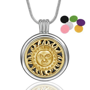 Two Tone Sun Aromatherapy Pendant Necklace