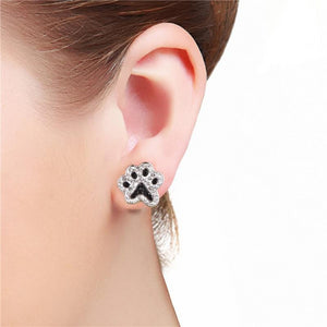 Black & Silver Dog Paw Stud Earrings Women's Jewelry