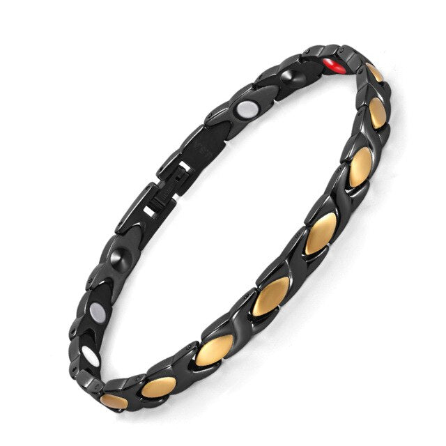 Magnetic Gold and Black Bracelet with Germanium
