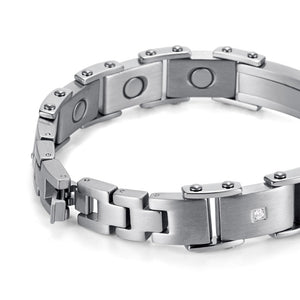 Silver Plated with Carbon Fiber Magnetic Bracelet