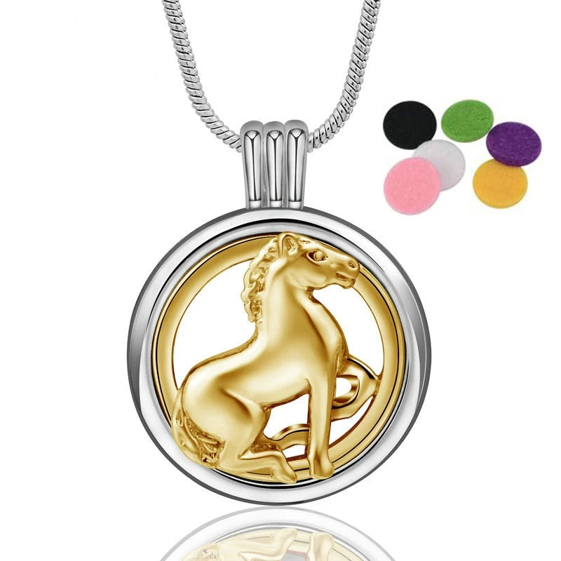 Aroma Diffuser Horse Locket Pendant Necklace