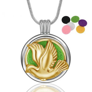 Golden Pigeon Aroma Diffuser Pendant Necklace