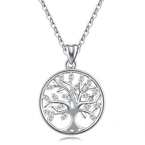 925 Sterling Silver Tree of Life with Cubic Zirconia Pendant Necklace