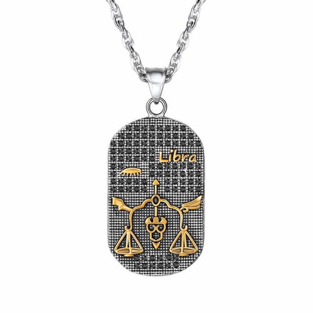 Stainless Steel Zodiac Sign Pendant Necklace