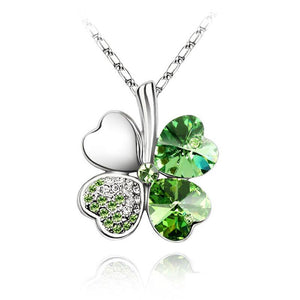 Austrian Crystal and Rhinestones Four Leaf Clovers Pendant Necklace