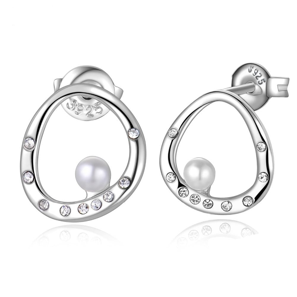 925 Sterling Silver 3mm Crystal Round Shape Shell Pearl Curved Circle Stud Earrings - Innovato Store