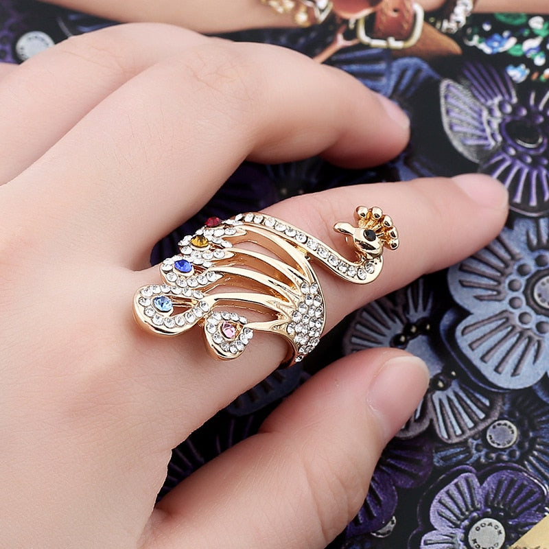 Rose Gold Peacock Rings For Women Jewelry