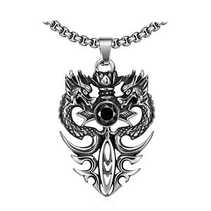 Stainless Steel Silver Vintage Double Dragon Pendant