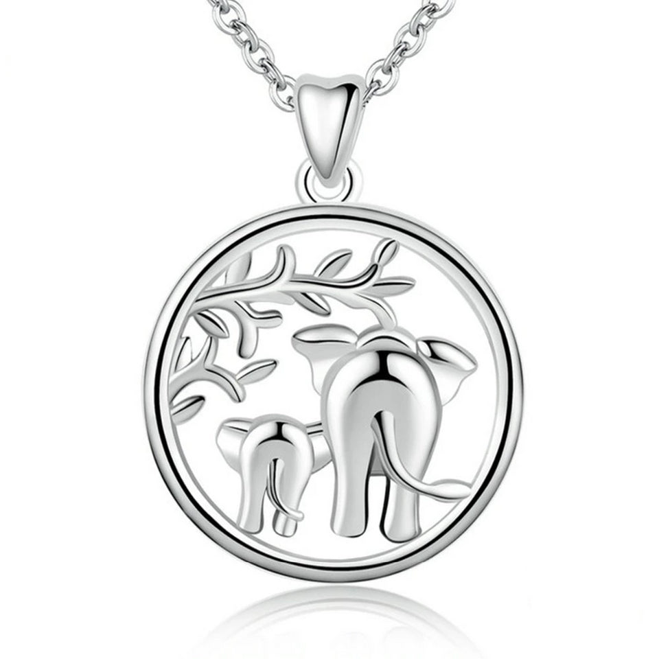 925 Sterling Silver Mother and Child Elephant Pendant Necklace