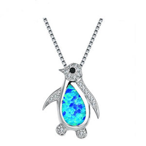925 Sterling Silver Cubic Zircon and Opal Penguin Necklace - Innovato Store