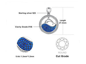 925 Sterling Silver Blue Ocean Dolphin Pendant Necklace