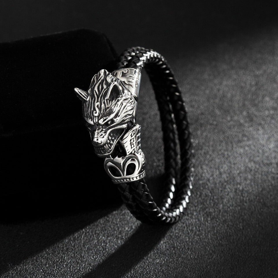 Stainless Steel Wolf Head Leather Bracelet for Men