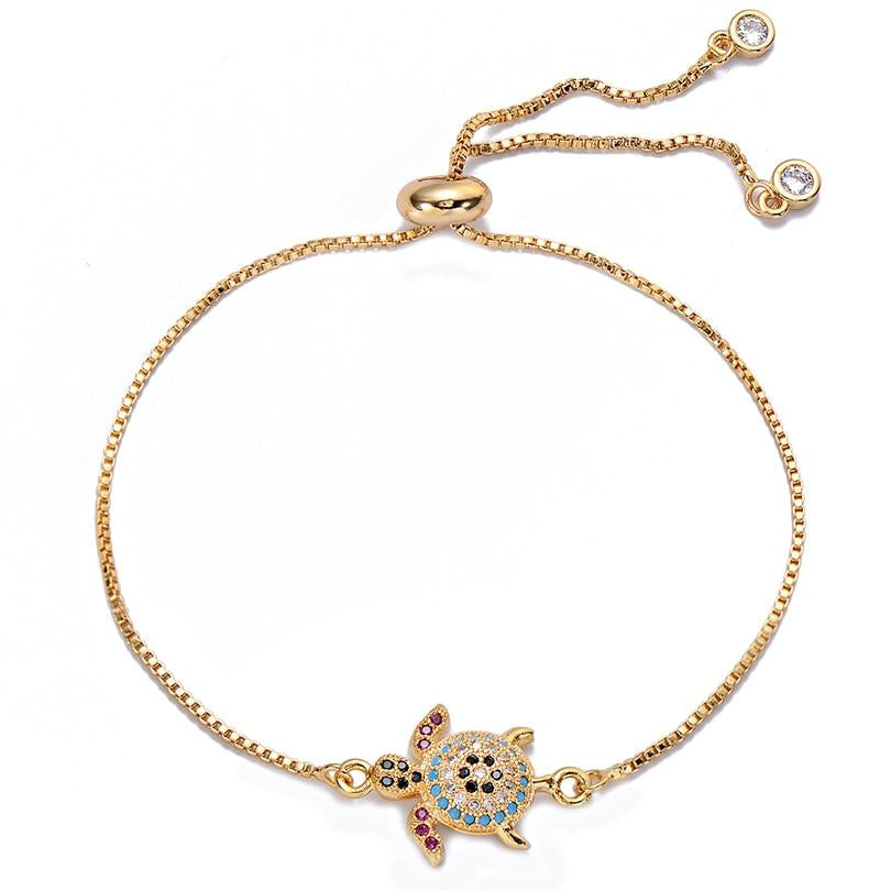 Gold Sea Turtle Bracelet with Cubic Zircon Adjustable Charm Bracelets Women's Jewelry