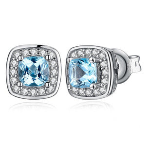 0.8ct Cushion Cut Blue Topaz Stud Earrings 925 Sterling Silver - Innovato Store