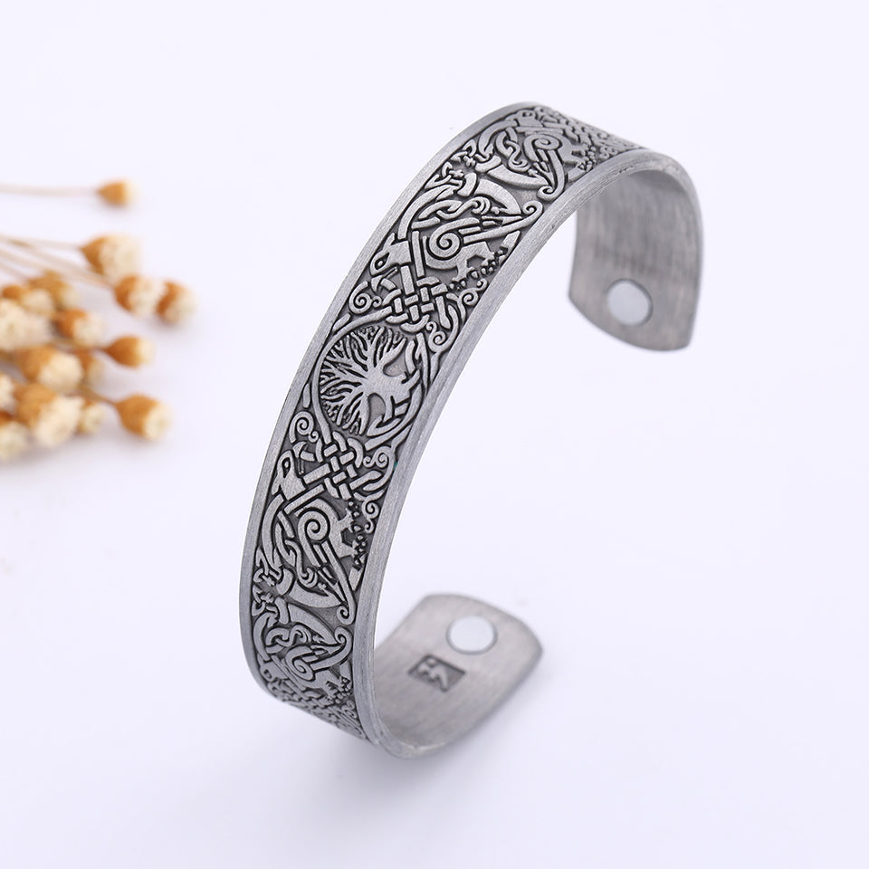 Tree of Life with Ravens Cuff Magnetic Bracelet
