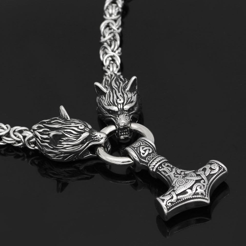 Stainless Steel Wolf Head and Thor's Hammer Pendant Necklace for Men