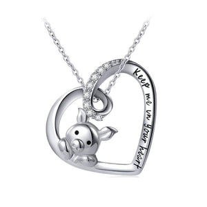 925 Sterling Silver Cute Zodiac Pig Pendant Necklace Women's Jewelry