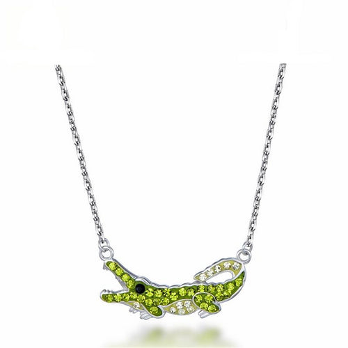 Green Crystal Crocodile Pendant Necklace Women's Jewelry