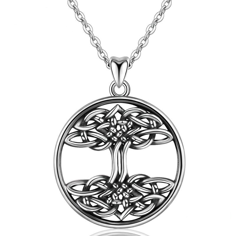 925 Sterling Silver Celtics Knot in a Tree Of Life Pendant Necklace