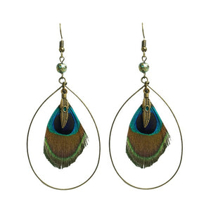 Peacock Nature Feather Stud Earrings for Women